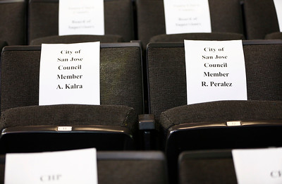 Only two seats for the San Jose City Council were reserved for the memorial service for San Jose Police Department Officer, Michael Katherman, held at SAP Center in San Jose, Calif., on Tuesday, June 21, 2016. Katherman was killed in a traffic collision while on patrol on his police motorcycle last week. (Photo by Gary Reyes/Bay Area News Group)