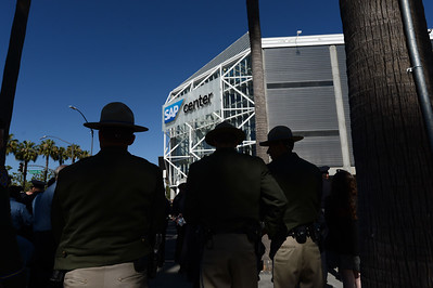 California Highway Patrol officers stand outside prior to a memorial for fallen San Jose police officer Michael Katherman at the SAP Center in San Jose, Calif., on Tuesday, June 21, 2016. Katherman died June 14 when his police motorcycle collided with a minivan at North 10th and Horning streets. He was the city's 13th police officer killed in the line of duty and the second motorcycle officer. (Dan Honda/Bay Area News Group)