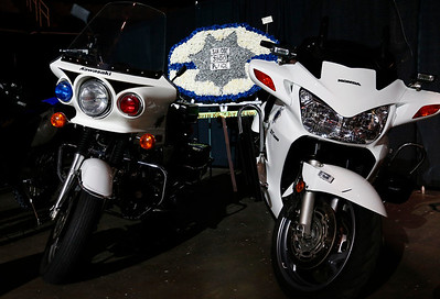 Police motorcycles are displayed during a memorial service for San Jose Police Department officer Michael Katherman, held at SAP Center in San Jose, Calif. on Tuesday, June 21, 2016. Katherman was killed in a traffic collision while on patrol on his police motorcycle last week. (Photo by Gary Reyes/Bay Area News Group)