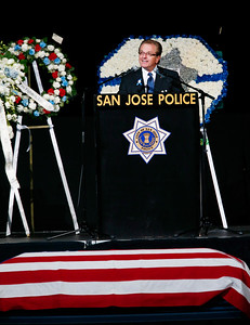 Tom Katherman delivers his remarks during a memorial service for his son, San Jose Police Department officer Michael Katherman, held at SAP Center in San Jose, Calif., on Tuesday, June 21, 2016. Katherman was killed in a traffic collision while on patrol on his police motorcycle last week. (Photo by Gary Reyes/Bay Area News Group)