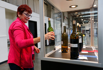 Mari-Lyn Harris, culinary arts director, sets up the wine display during final preparations for the opening of the San Mateo County Fair in San Mateo, Calif., on Friday, June 10, 2016. The fair opens Saturday and runs through Sunday, June 19, 2016. (Gary Reyes/Bay Area News Group)