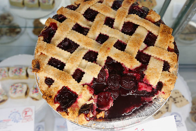 A cherry pie made by Elizabeth Soelberg of Sunnyvale is on display at the Culinary Arts section during final preparations for the opening of the San Mateo County Fair in San Mateo, Calif., on Friday, June 10, 2016. The fair opens Saturday and runs through Sunday, June 19, 2016. (Gary Reyes/Bay Area News Group)