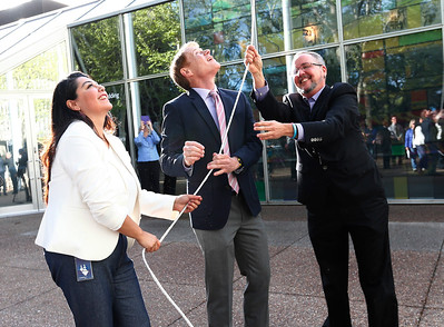 Maribel Martinez, Santa Clara County Supervisor, Ken Yeager, and Lance Moore, left to right, raise the Transgender Pride Flag in front of the County Government Center for the first time in front of any Santa Clara County building in San Jose, Calif., on Tuesday, March 22, 2016. The flag raising ceremony was held  held in advance of the sixth annual International Transgender Day of Visibility on March 31, 2016, and kick off LGBTQ events through April, including Santa Clara County's South Bay Transgender Day of Visibility on April 2, 2016. Martinez is the manager of the county office of LGBTQ affairs. Moore is a local transgender rights activist. (Gary Reyes/Bay Area News Group)