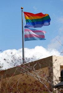 The Transgender Pride Flag, just below the LGBT Flag waves in front of the County Government Center for the first time in San Jose, Calif., on Tuesday, March 22, 2016. A flag raising ceremony was held in advance of the sixth annual International Transgender Day of Visibility on March 31, 2016, and kick off LGBTQ events through April, including Santa Clara County's South Bay Transgender Day of Visibility on April 2, 2016. (Gary Reyes/Bay Area News Group)