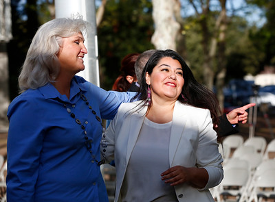 Aejaie Sellers and Maribel Martinez, left to right, celebrate the raising of the Transgender Pride Flag in front of the County Government Center for the first time in front of any Santa Clara County building in San Jose, Calif., on Tuesday, March 22, 2016. The flag raising ceremony was held in advance of the sixth annual International Transgender Day of Visibility on March 31, 2016, and kick off LGBTQ events through April, including Santa Clara County's South Bay Transgender Day of Visibility on April 2, 2016. (Gary Reyes/Bay Area News Group)