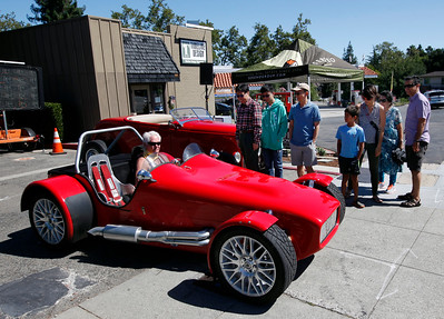 Richard Kraus waits in his '66 Lotus Super 7 for clearance to enter the Saratoga Classic Car Show in Saratoga, Calif., Sunday, July 17, 2016. (Karl Mondon/Bay Area News Group)