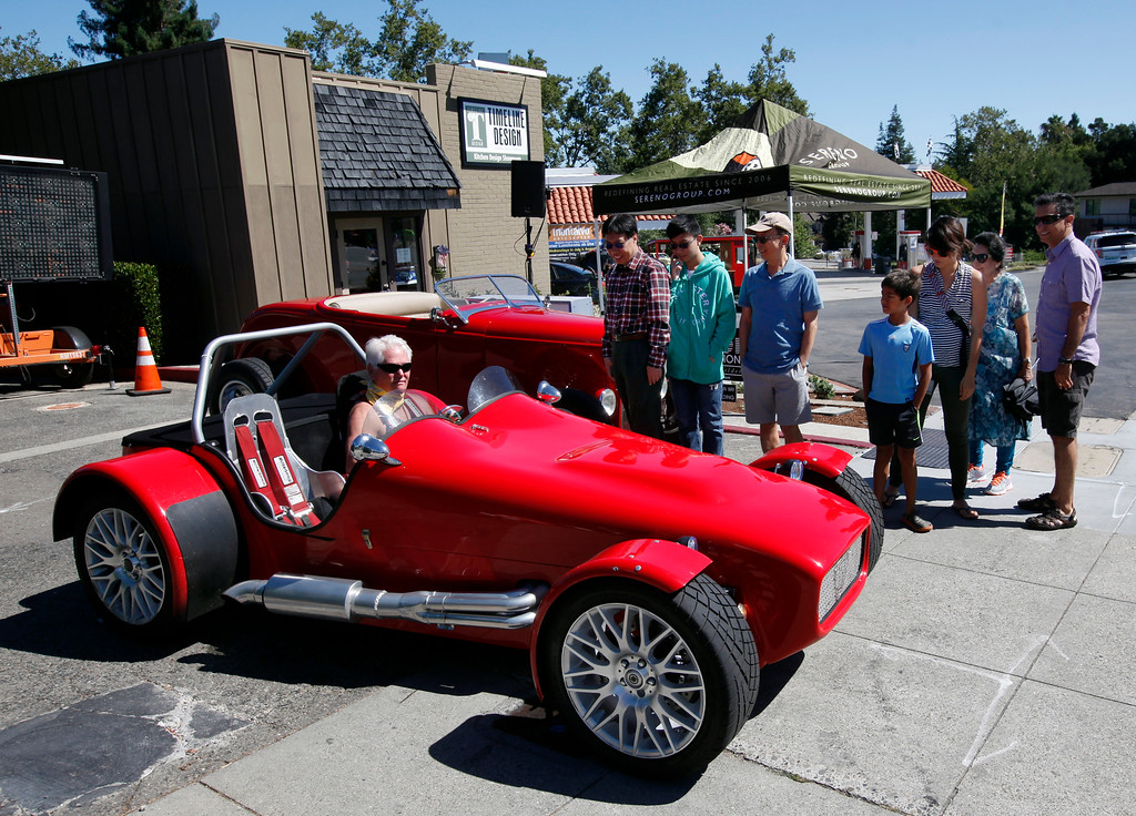 . Richard Kraus waits in his \'66 Lotus Super 7 for clearance to enter the Saratoga Classic Car Show in Saratoga, Calif., Sunday, July 17, 2016. (Karl Mondon/Bay Area News Group)
