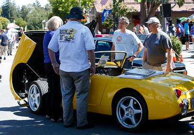 Vaughn Marian's 1959 Austin-Healy Sprite turns heads at the Saratoga Classic Car Show in Saratoga, Calif., Sunday, July 17, 2016. (Karl Mondon/Bay Area News Group)