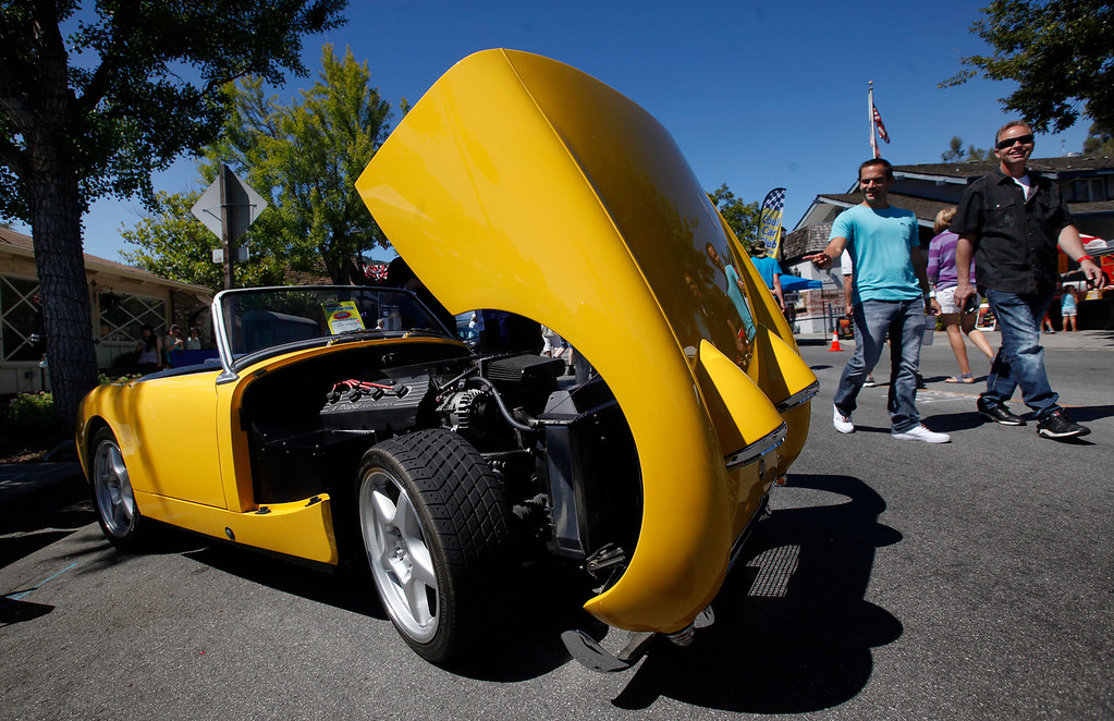 . Vaughn Marian\'s 1959 Austin-Healy Sprite turns heads at the Saratoga Classic Car Show in Saratoga, Calif., Sunday, July 17, 2016. (Karl Mondon/Bay Area News Group)