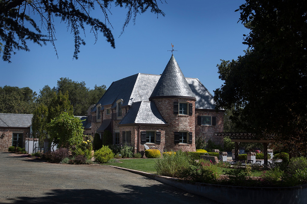 . Paul Masson\'s chateau in the hills above Saratoga, Calif., photographed Thursday, Sept. 1, 2016. The house, on three acres, is on the market for $7 million and it is where Masson once entertained friends like Charlie Chaplin and John Steinbeck.  (Patrick Tehan/Bay Area News Group)