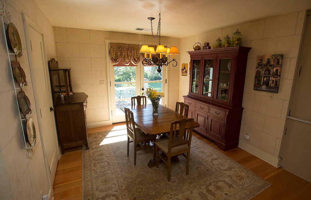 . Dining area near the kitchen in Paul Masson\'s chateau in the hills above Saratoga, Calif., photographed Thursday, Sept. 1, 2016. The house, on three acres, is on the market for $7 million and it is where Masson once entertained friends like Charlie Chaplin and John Steinbeck.  (Patrick Tehan/Bay Area News Group)