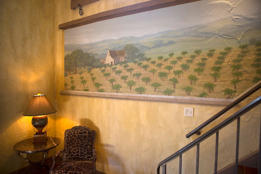 . Trompe l\'oeil paintings are one of many decorative elements in the great room in Paul Masson\'s chateau in the hills above Saratoga, Calif., Thursday, Sept. 1, 2016. The house, on three acres, is on the market for $7 million and it is where Masson once entertained friends like Charlie Chaplin and John Steinbeck.  (Patrick Tehan/Bay Area News Group)