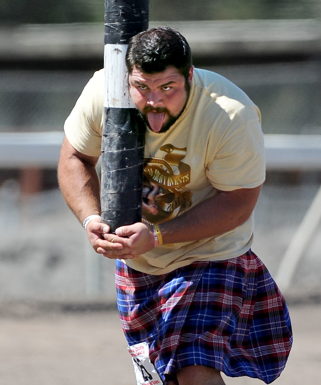 . Nick Kahanic, of Jamestown, New York, gets ready to toss the caber during the Amateur A class at the 148th annual Scottish Highland Gathering and Games held at the Alameda County Fairgrounds in Pleasanton, Calif., on Saturday, Aug. 13, 2013. The Scottish Highland Gathering and Games continues on Sunday. (Doug Duran/Bay Area News Group)