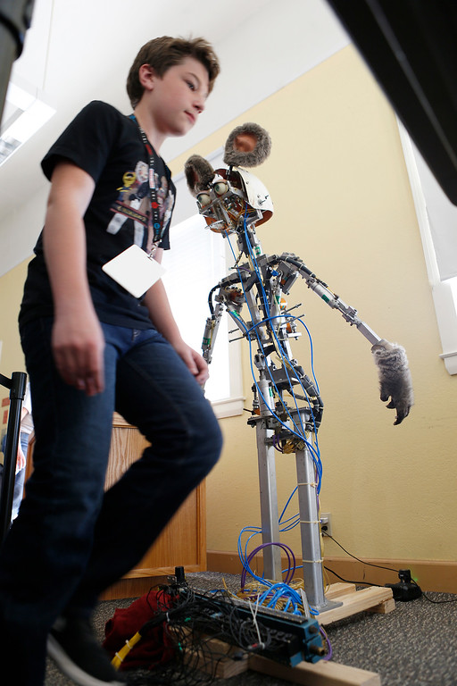 . Jack Turner, 13, displays his animatronic robot mouse at the second annual San Jose Mini Maker Faire at History San Jose Park in San Jose, Calif., on Sunday, September 4, 2016. (Josie Lepe/Bay Area News Group)