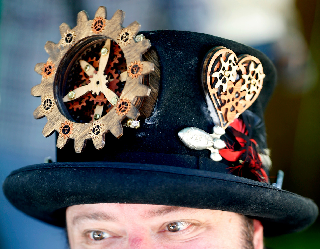 Greg Price, of Steamy Tech wears a gear top hat he created at the second annual San Jose Mini Maker Faire at History San Jose Park in San Jose, Calif., on Sunday, September 4, 2016. (Josie Lepe/Bay Area News Group)