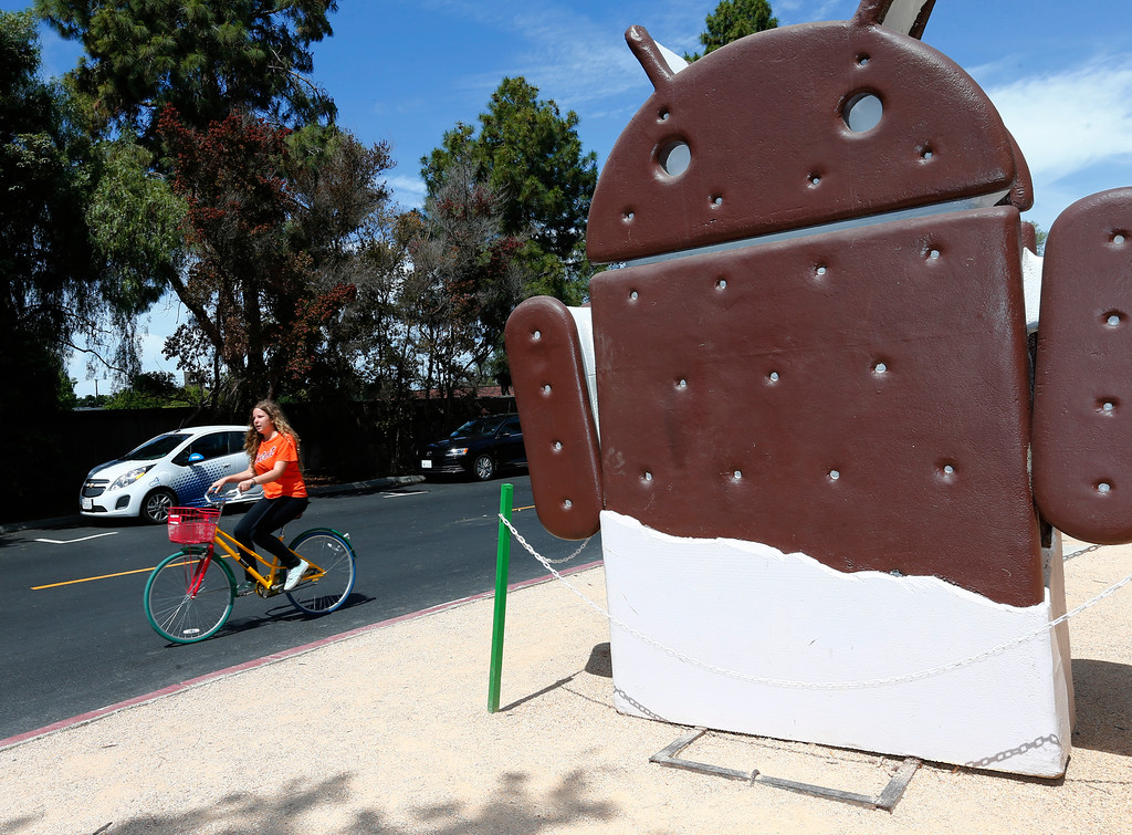 . An unidentified bicyclist uses a Google bike at the Android Garden on the Google campus in Mountain View, Calif., on Wednesday, June 8, 2016. Iconic high tech firms in Silicon Valley have become tourist destinations. (Gary Reyes/Bay Area News Group)