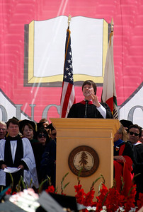 Documentary filmmaker Ken Burns delivers the address during the Stanford University commencement ceremony in Stanford, Calif., Sunday morning, June 12, 2016. Burns delivered a strong attack on the Republican presidential candidate Donald Trump. (Karl Mondon/Bay Area News Group)