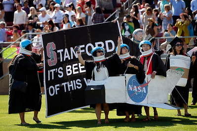 Stanford University students come as space shuttle astronauts during the Wacky Walk entrance for their commencement ceremony in Stanford, Calif., on Sunday, June 12, 2016. (Karl Mondon/Bay Area News Group)
