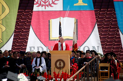 John Hennessy, president of Stanford University, opens the school's commencement ceremony in Stanford, Calif., Sunday morning, June 12, 2016. (Karl Mondon/Bay Area News Group)