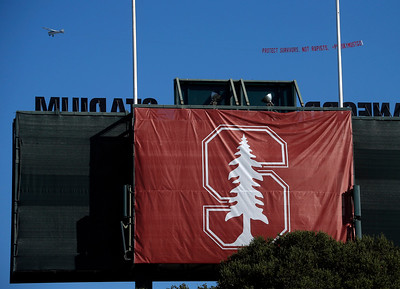 A banner protesting the controversial sentencing of Brock Turner flies over Stanford stadium before the university's commencement ceremony in Stanford, Calif., Sunday morning, June 12, 2016. (Karl Mondon/Bay Area News Group)