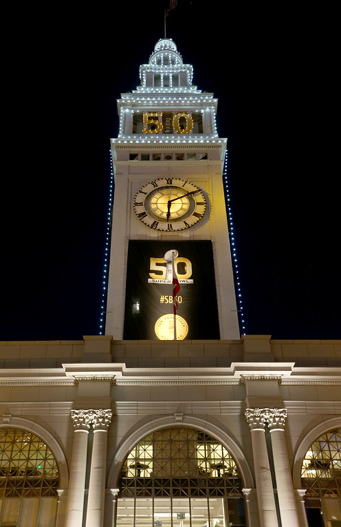 . The Super Bowl 50 logo is seen on the Ferry building across from Super Bowl City in San Francisco, Calif., on Thursday, Feb. 4, 2016. (Jane Tyska/Bay Area News Group)