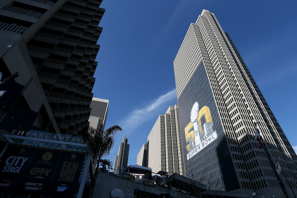 . The Super Bowl 50 logo is seen on a building at Embarcadero Center from Super Bowl City in San Francisco, Calif., on Thursday, Feb. 4, 2016. (Jane Tyska/Bay Area News Group)