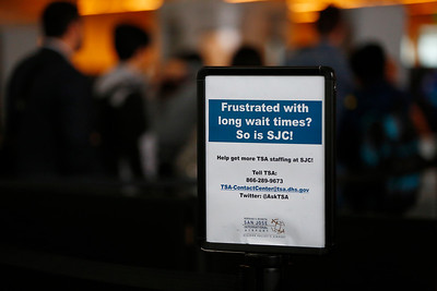 A sign for passengers with complaints is posted at the TSA security checkpoint in Terminal B at Mineta San Jose International Airport in San Jose, Calif., on Tuesday, April 12, 2016. A nationwide shortage of security personnel and the higher security level following the Belgium terrorist attacks has caused longer than usual boarding times. (Gary Reyes/Bay Area News Group)