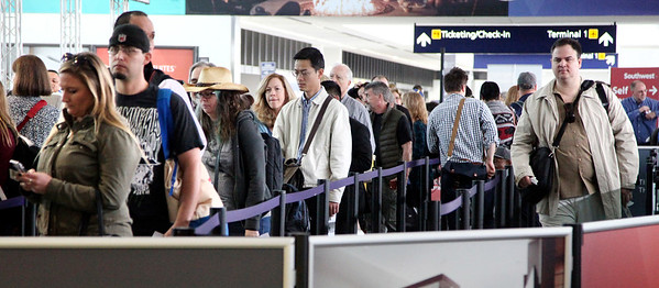 Long lines at the security screening at Oakland International Airport