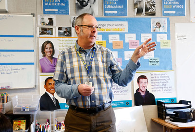 Derrall Garrison teaches a language arts lesson to his fifth-grade students at R.I. Meyerholz Elementary School in San Jose, Calif., on Tuesday, March 15, 2016. The lack of affordable housing for teachers has led to teacher shortages and high turnover for schools in the Bay Area. Garrison commutes from Castro Valley because of the high cost of housing in Silicon Valley. (Gary Reyes/Bay Area News Group)