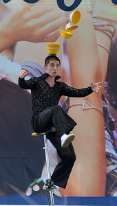 Yan Wang, of the Chinese Acrobats of Hebei, performs at the Alameda County Fair at the Alameda County Fairgrounds in Pleasanton, Calif., on Wednesday, June 15, 2016. The fair, which opened on Wednesday with $1day, will run through July 4th. Check their website for hours and days of operation. (Dan Honda/Bay Area News Group)