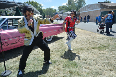 Elvis, Rick Torres, and Priscilla, Michelle Presney, both of San Jose, perform at the Alameda County Fair at the Alameda County Fairgrounds in Pleasanton, Calif., on Wednesday, June 15, 2016. The fair, which opened on Wednesday with $1day, will run through July 4th. Check their website for hours and days of operation. (Dan Honda/Bay Area News Group)
