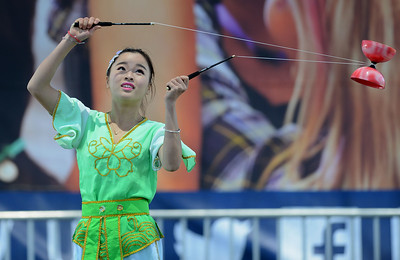 Si yuan Liao, of the Chinese Acrobats of Hebei, performs at the Alameda County Fair at the Alameda County Fairgrounds in Pleasanton, Calif., on Wednesday, June 15, 2016. The fair, which opened on Wednesday with $1day, will run through July 4th. Check their website for hours and days of operation. (Dan Honda/Bay Area News Group)