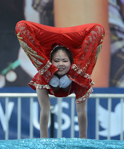 Xu Su, of the Chinese Acrobats of Hebei, performs at the Alameda County Fair at the Alameda County Fairgrounds in Pleasanton, Calif., on Wednesday, June 15, 2016. The fair, which opened on Wednesday with $1day, will run through July 4th. Check their website for hours and days of operation. (Dan Honda/Bay Area News Group)