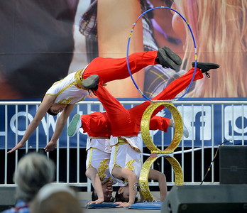 Members of of the Chinese Acrobats of Hebei, perform at the Alameda County Fair at the Alameda County Fairgrounds in Pleasanton, Calif., on Wednesday, June 15, 2016. The fair, which opened on Wednesday with $1day, will run through July 4th. Check their website for hours and days of operation. (Dan Honda/Bay Area News Group)