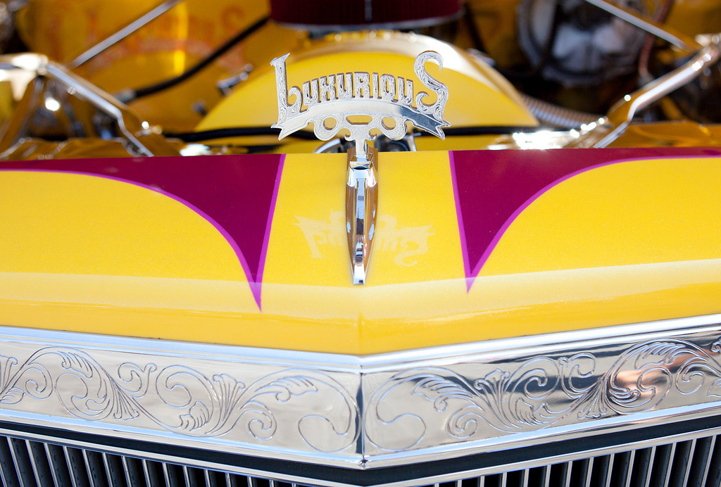 . Detail of a 1983 Cadillac on display during the Fifth Annual Blvd. Bombs car show and fundraiser in San Jose Saturday, Sept. 14, 2013. The event featured a car show of vintage, classic and custom cars and street rods and lowriders. The benefits go to Second Harvest Food Bank, City Team Ministries and local homeless advocacy organizations. There were also numerous bands playing and vendors selling food of all kinds. (Patrick Tehan/Bay Area News Group)