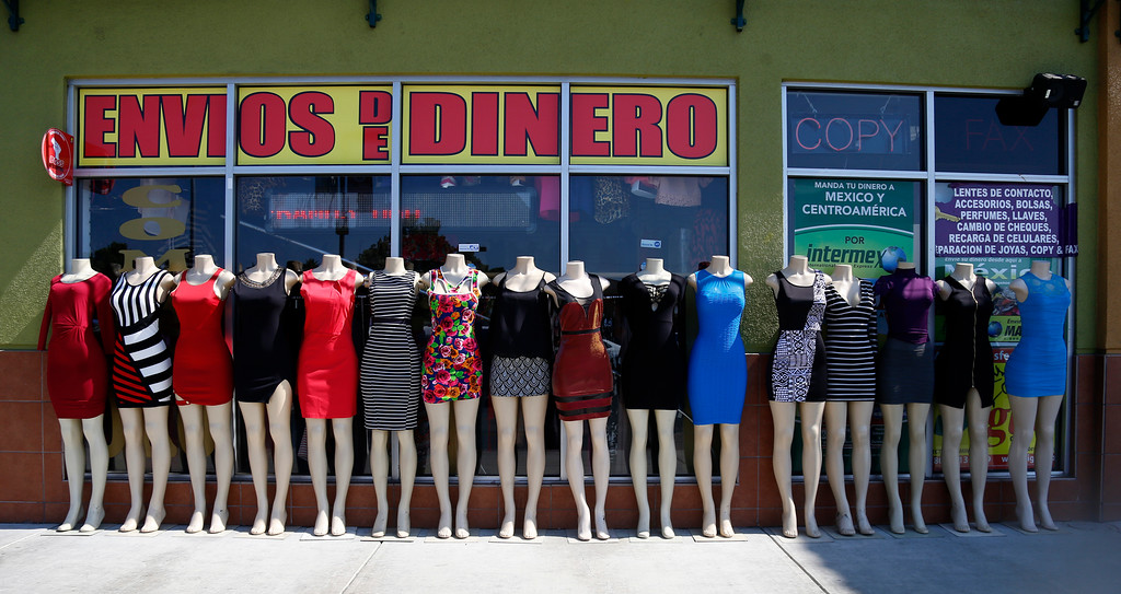 . Mannequins stand outside of La Placita Tropicana Shopping Center in San Jose, Calif., on Thursday, August 25, 2016. (Nhat V. Meyer/Bay Area News Group)