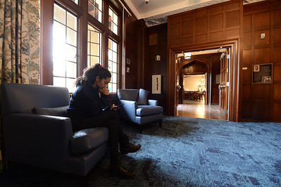 Senior Harriet Kaur, 20, originally from Anaheim, sits in the David E. Mateson II Memorial Lounge in the newly restored Bowles Hall on the campus of UC Berkeley in Berkeley, Calif., on Saturday, Aug. 20, 2016. The castle-like building is part of a larger revival of the throw-back staples of college life at large research institutions that used these types of student residences to reinvigorate the intellectual and social lives of their students. This undertaking was a multimillion dollar effort. (Dan Honda/Bay Area News Group)