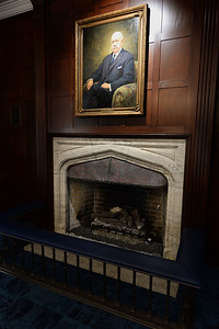 The fire place and portrait of David E. Matteson II in the David E. Matteson II Memorial Lounge in the newly restored Bowles Hall on the campus of UC Berkeley in Berkeley, Calif., photographed on Saturday, Aug. 20, 2016. The castle-like building is part of a larger revival of the throw-back staples of college life at large research institutions that used these types of student residences to reinvigorate the intellectual and social lives of their students. This undertaking was a multimillion dollar effort. (Dan Honda/Bay Area News Group)