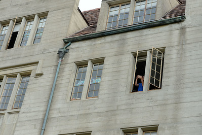 A parent takes a photo of the view out of a window in the newly restored Bowles Hall on the campus of UC Berkeley in Berkeley, Calif., on Saturday, Aug. 20, 2016. The castle-like building is part of a larger revival of the throw-back staples of college life at large research institutions that used these types of student residences to reinvigorate the intellectual and social lives of their students. This undertaking was a multimillion dollar effort. (Dan Honda/Bay Area News Group)
