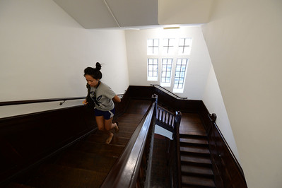 (Note: this is the only staircase made of wood. The rest are standard polished concrete.) Kathy Tong, originally from Los Angeles, dashes up the stairs in the newly restored Bowles Hall on the campus of UC Berkeley in Berkeley, Calif., on Saturday, Aug. 20, 2016. The castle-like building is part of a larger revival of the throw-back staples of college life at large research institutions that used these types of student residences to reinvigorate the intellectual and social lives of their students. This undertaking was a multimillion dollar effort. (Dan Honda/Bay Area News Group)