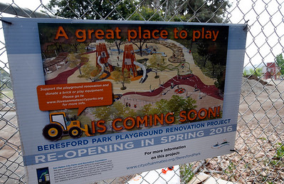 A rendering shows off the new playground under construction in Beresford Park in San Mateo, Calif., Tuesday morning, May 10, 2016. (Karl Mondon/Bay Area News Group)