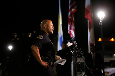 San Jose Police Chief Eddie Garcia answers questions from reporters after announcing the death of motorcycle officer Michael J. Katherman at San Jose Police headquarters in San Jose, Calif., on Tuesday, June 14, 2016. (Jim Gensheimer/Bay Area News Group)