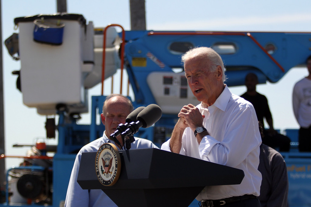. Vice President Joe Biden discusses the importance of workforce development and investing in job-training programs during a visit to a Pacific Gas and Electric Company service center in Oakland, Calif., April 10, 2015. PG&E�s PowerPathway program is helping workers obtain skills for entry-level positions in the utility industry. Since the program�s debut in 2008, 600 individuals have graduated from the program, including 300 veterans, and 80 percent have been hired into PG&E or the utility industry. (Anda Chu/Bay Area News Group)
