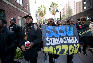 San Jose State University (SJSU) students march during a solidarity rally hosted by the Black Student Union in the wake of the racially charged incident at the University of Missouri, at San Jose State University in San Jose, Calif., on Wednesday, Nov. 18, 2015. (LiPo Ching/Bay Area News Group)