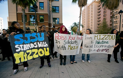 San Jose State University (SJSU) students gather on campus to march during a solidarity rally hosted by the Black Student Union in the wake of the racially charged incident at the University of Missouri, at San Jose State University in San Jose, Calif., on Wednesday, Nov. 18, 2015. (LiPo Ching/Bay Area News Group)