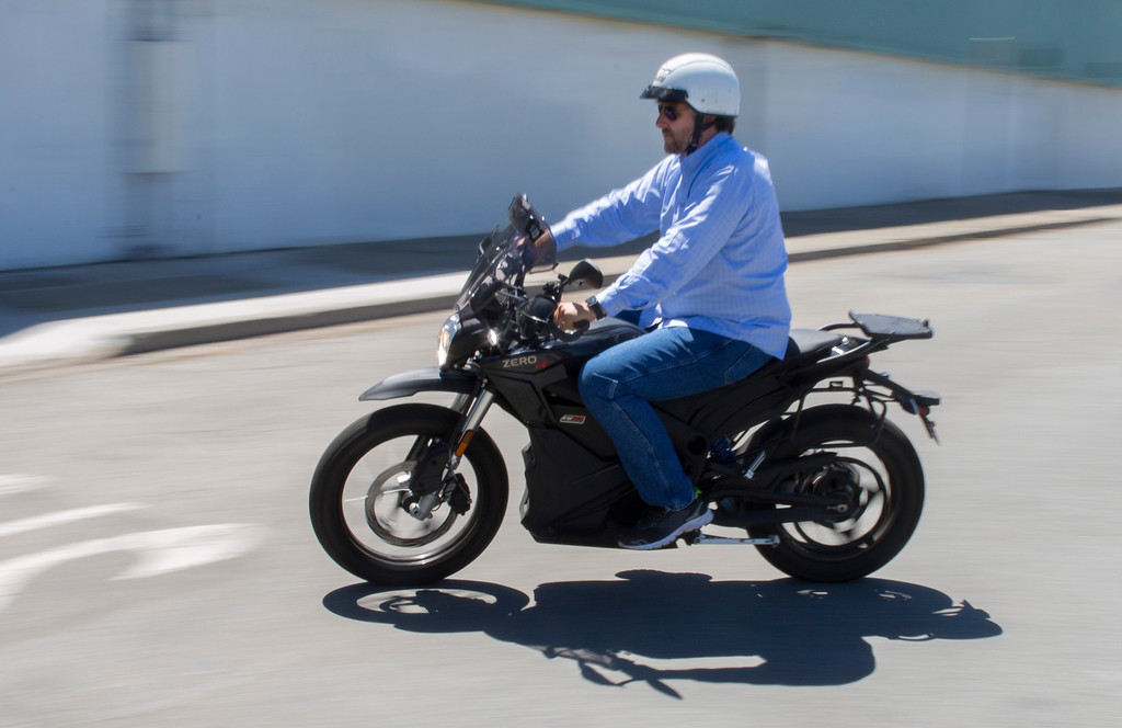 . Fred Olsson of Cupertino, takes a test drive as Zero Motorcycles holds a demonstration event at San Jose BMW in San Jose, Calif., Saturday, June 24, 2016. There is a burgeoning electric motorcycle market, which includes one of the major players, Zero Motorcycles of Scotts Valley.  (Patrick Tehan/Bay Area News Group)
