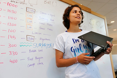 Prerna Vij, oversees a coding class during a summer program at Adobe Systems in San Jose, Calif., on Tuesday, June 28, 2016. Vij is a software engineer for Adobe mobile. There has been a growth in coding camps to get girls interested in learning to write code. (Photo by Gary Reyes/Bay Area News Group)