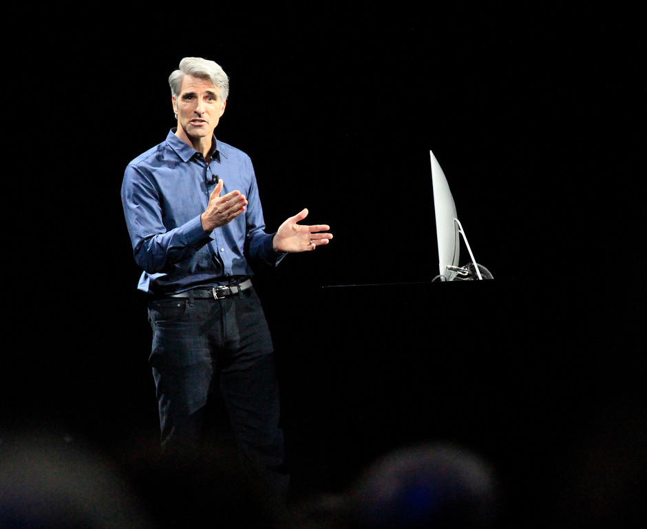 . Craig Federighi, senior vice president of software engineering, does a demo of the new features of the  operating system MacOS at the Apple Worldwide Developer Conference held at the Bill Graham Civic Auditorium in San Francisco, Calif., on Monday, June 13, 2016. (Laura A. Oda/Bay Area News Group)