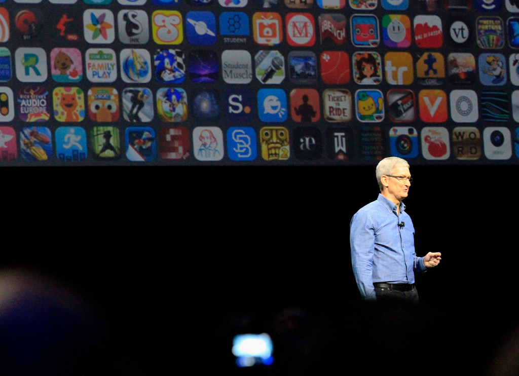 . Apple CEO Tim Cook speaks at the Apple Worldwide Developer Conference held at the Bill Graham Civic Auditorium in San Francisco, Calif., on Monday, June 13, 2016. (Laura A. Oda/Bay Area News Group)