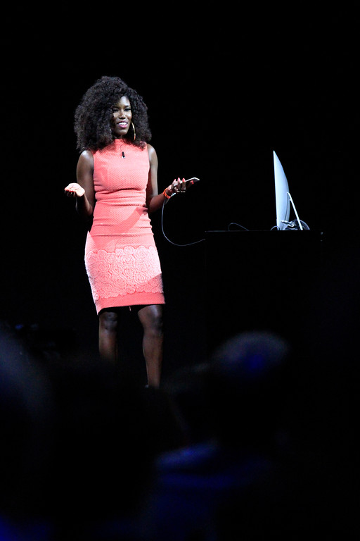 . Bozoma Saint John , head of global consumer marketing for Apple Music & iTunes, demonstrates the new features in iTunes at the Apple Worldwide Developer Conference held at the Bill Graham Civic Auditorium in San Francisco, Calif., on Monday, June 13, 2016. (Laura A. Oda/Bay Area News Group)